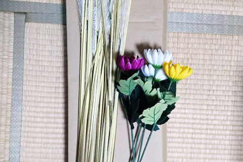 能の小道具 菊花と薄